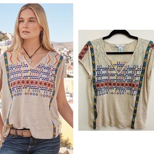 Sundance Embroidered Linen Casual Top
